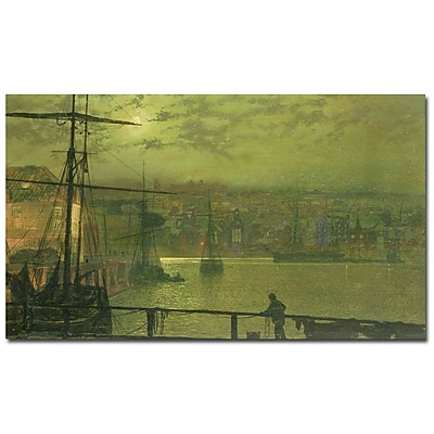 Trademark Fine Art John Grimshaw, 'A View of Whitby Harbor at Moonlight' Canvas 14x24 Inches