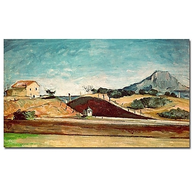 Trademark Fine Art Paul Cezanne 'The Railway Cutting, 1870' Canvas Art 18x32 Inches