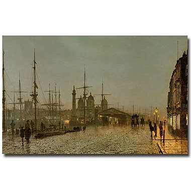 Trademark Fine Art John Grimshaw 'Hull Docks by Night' Canvas Art 30x47 Inches