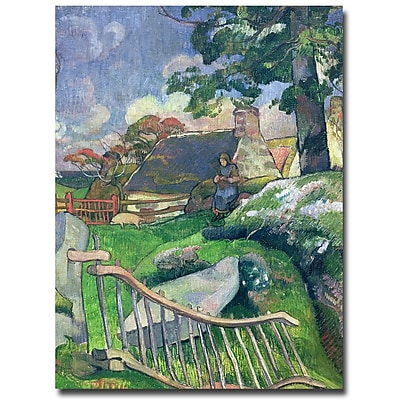 Trademark Fine Art Paul Gauguin 'The Pig Keeper, 1889' Canvas Art 35x47 Inches