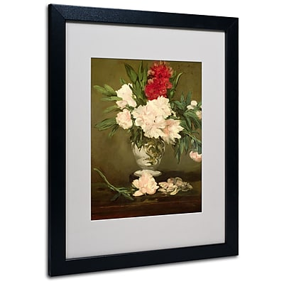 Trademark Fine Art Edouard Manet 'Vase of Peonies 1864' Matted Art Black Frame 16x20 Inches