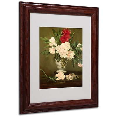 Edouard Manet 'Vase of Peonies 1864' Matted Framed Art - 11x14 Inches - Wood Frame