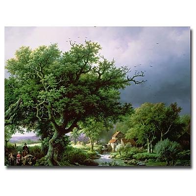 Trademark Fine Art Bernard Cornelis Koekkoek 'Landscape with Mill' Canvas Art
