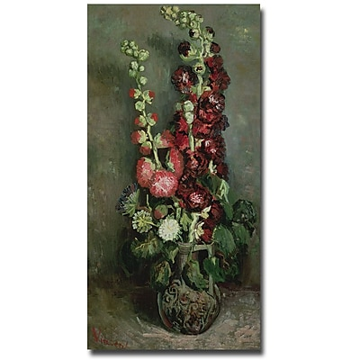 Trademark Fine Art Vincent van Gogh 'Vase of Hollyhocks, 1886' Canvas Art 12x24 Inches