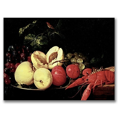 Trademark Fine Art Jan Davidz Heem 'Still Life of Fruit with a Lobs' Canvas Art 22x32 Inches