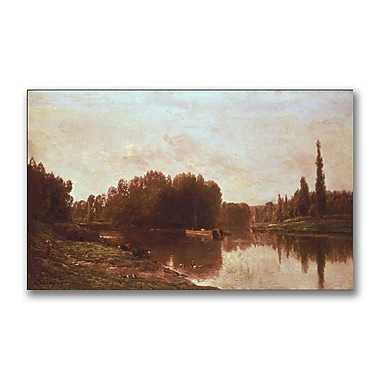 Trademark Fine Art Charles Daubigny 'The Confluence of the River' Canvas Art 12x24 Inches
