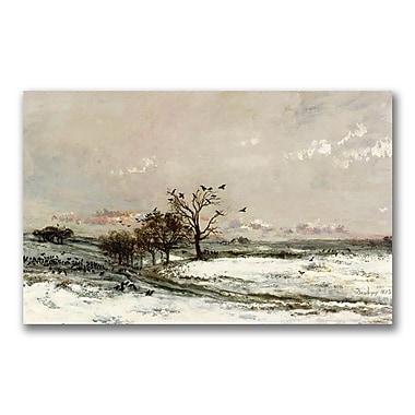 Trademark Fine Art Charles Daubigny 'The Snow, 1873' Canvas Art 16x32 Inches