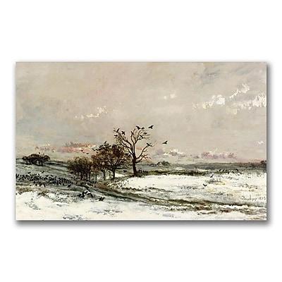 Trademark Fine Art Charles Daubigny 'The Snow 1873' Canvas Art 12x24 Inches