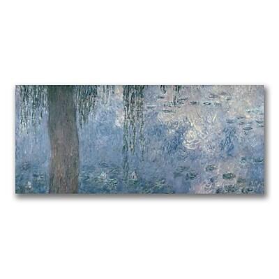 Trademark Fine Art Claude Monet ' Waterlillies Morning II' Canvas Art 14x32 Inches