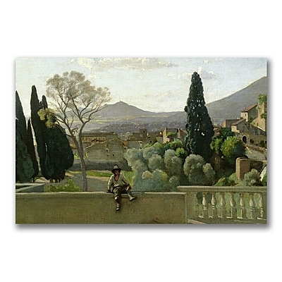 Trademark Fine Art Jean Baptiste Corot 'The Gardens of the Villa' Canvas 22x32 Inches