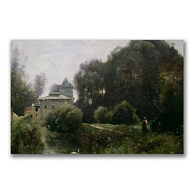 Trademark Fine Art Jean Baptiste Corot 'Souvenir of the Villa Borghese' Canvas 35x47 Inches