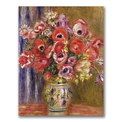 Trademark Fine Art Pierre Auguste Renoir 'Vase of Tulips and Anemo' Canvas Art 35x47 Inches