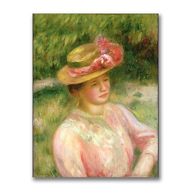 Trademark Fine Art Pierre Renoir 'The Straw Hat' Canvas Art 35x47 Inches