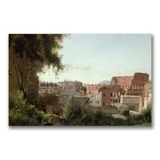 Trademark Fine Art Jean Baptiste Corot 'View of the Colosseum' Canvas 14x24 Inches