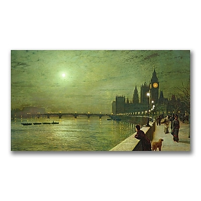 Trademark Fine Art John Grimshaw 'Reflections on the Thames' Canvas Art 14x24 Inches