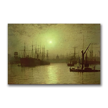 Trademark Fine Art John Grimshaw 'Nightfall Down the Thames, 1880' Canvas Art