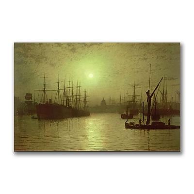 Trademark Fine Art John Grimshaw 'Nightfall Down the Thames, 1880' Canvas Art