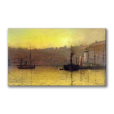 Trademark Fine Art John Grimshaw 'Nightfall in Scarborough Harbour' Canvas Art 14x24 Inches