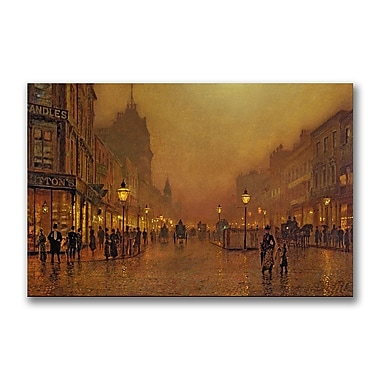 Trademark Fine Art John Grimshaw 'A Street at Night' Canvas Art 30x47 Inches
