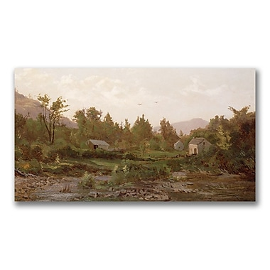 Trademark Fine Art Thomas Whittredge 'Landscape with Trees and Houses' Canvas 18x32 Inches