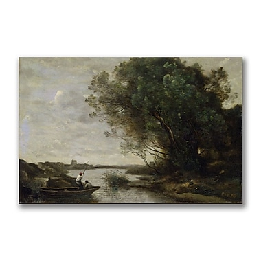 Trademark Fine Art Jean Baptiste Corot 'River Landscape' Canvas 22x32 Inches