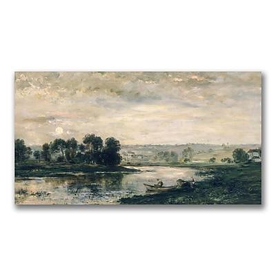 Trademark Fine Art Charles Daubigny 'Evening on the Oise' Canvas Art 16x32 Inches