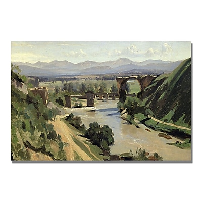Trademark Fine Art Jean Baptiste Corot 'Nami, The Bridge of Augustus' Canvas