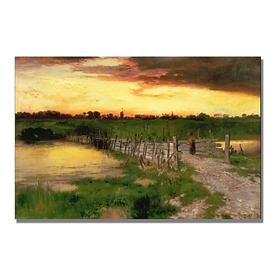 Trademark Fine Art Thomas Moran 'The Old Bridge over Hook Pond' Canvas Art 16x24 Inches