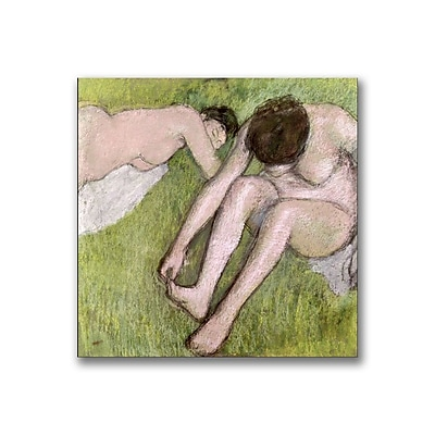 Trademark Fine Art Edgar Degas 'Two Bathers on the Grass' Canvas Art 14x14 Inches