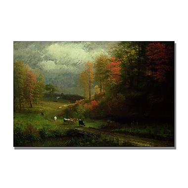 Trademark Fine Art Albert Biersdant 'Rainy Day in Autumn' Canvas Art 16x24 Inches