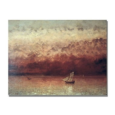 Trademark Fine Art Gustave Courbet 'Lake Leman with Setting Sun' Canvas Art