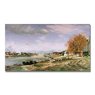 Trademark Fine Art Jean Baptiste Guillamin 'The Old Quay at Bercy' Canvas Art 18x32 Inches