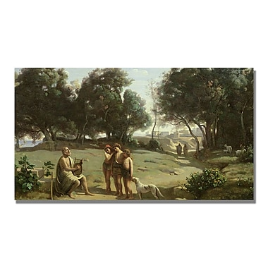Trademark Fine Art Jean Baptiste Corot 'Homer and the Shepard' Canvas. 14x24 Inches