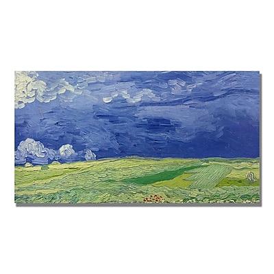 Trademark Fine Art Vincent Van Gogh 'Wheatfields under Thundercloud' Canvas Art 12x24 Inches