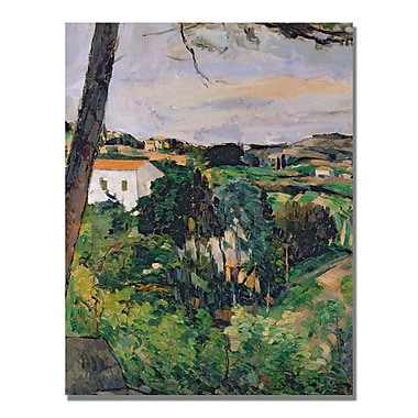 Trademark Fine Art Paul Cezanne 'Landscape with Red Roof' Canvas Art 35x47 Inches