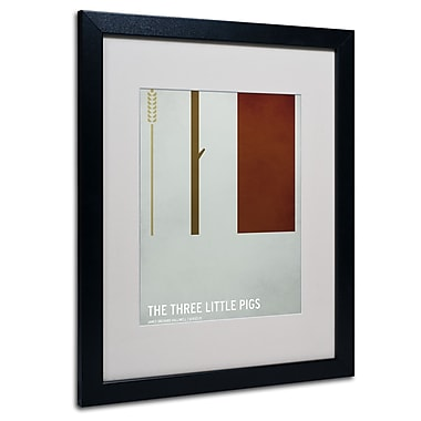 Trademark Fine Art Christian Jackson 'The Three Little Pigs' Matted Art Black Frame 16x20 Inches