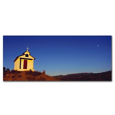 Trademark Fine Art Church with Moon' by Preston-Ready to Hang Art 10x24 Inches