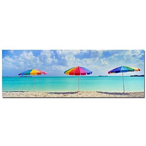 Trademark Fine Art Three Umbrellas by Preston-Ready to Hang Art 12x36 Inches