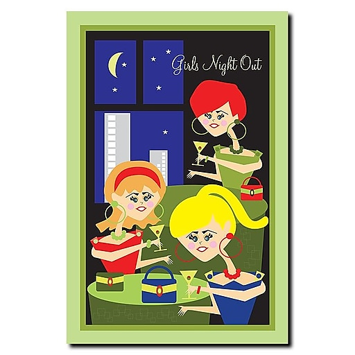 Trademark Fine Art Girls Night Out by Grace Riley-Canvas Art 14x19 Inches