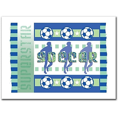 Trademark Fine Art Soccer' by Grace Riely Canvas Art. Made in America! 22x32 Inches