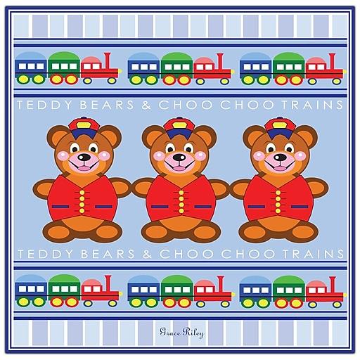 Trademark Fine Art Teddy Bears & Choo Choo Trains by Grace Riley-18x18 18x18 Inches