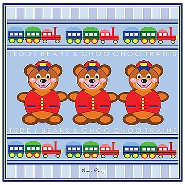 Trademark Fine Art Teddy Bears & ChooChoo Trains by Grace Riley-Canvas Art 24x24 Inches