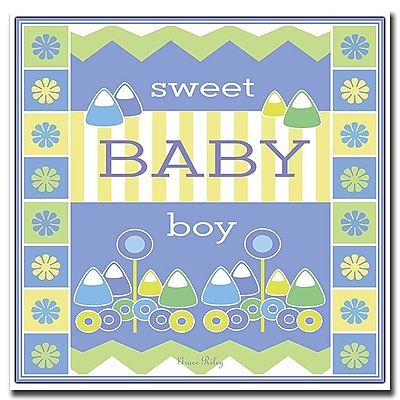 Trademark Fine Art Sweet Baby Boy by Grace Riley-18x18 CanvasArt Ready to Hang 18x18 Inches