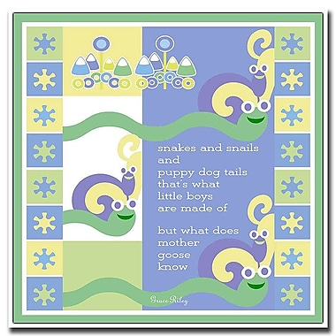 Trademark Fine Art Snakes & Snails by Grace Riley-Canvas Art Ready to Hang 24x24 Inches