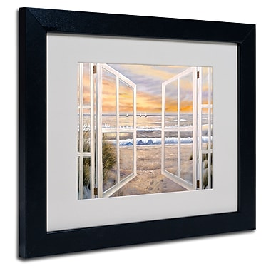 Trademark Fine Art Joval 'Elongated Window' Matted Art Black Frame 16x20 Inches