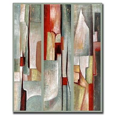 Trademark Fine Art Abstract Triptych by Joval-Canvas Art Ready to Hang 24x32 Inches