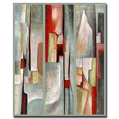 Trademark Fine Art Abstract Triptych by Joval-Canvas Art Ready to Hang 18x24 Inches
