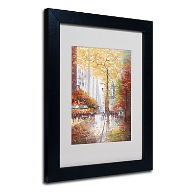 Trademark Fine Art Joval 'French Street Scene II' Matted Art Black Frame 16x20 Inches
