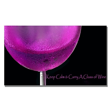 Trademark Fine Art Kathie McCurdy 'Pink Chardonney Glass' Canvas Art 14x24 Inches