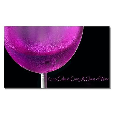 Trademark Fine Art Kathie McCurdy 'Pink Chardonney Glass' Canvas Art 14x24 Inches